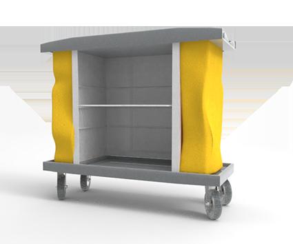 CAPACIDAD: 1000 Lts PESO: 41.5 kg. COLOR: Cuerpo Gris claro, entrepaños blancos y bolsas amarillas.