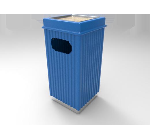 DESCRIPCIÓNCompuesta de 2 piezas; tapa y bote, fabricada en polietileno de media densidad, mediante el proceso de rotomoldeo, para darle mayor resistencia a impactos y evitar deformaciones.Resistencia a condiciones climáticas.2 opciones: como papelera con acceso superior ó lateral y cenicero superior con arena.La abertura para los residuos es por un costado de la misma.Ambas están diseñadas para evitar que depositen bolsas de gran tamaño.Tapa superior desmontable.Base de acero inoxidable.FUNCIONALIDADEl principal objetivo de ORNAMENTAL 100 es para ser colocada en interiores.Son decorativas.No necesitan de gran mantenimiento.Son ideal para el acopio temporal de residuos sólidos.El vaciado se realiza solo levantando la tapa e inclinar el bote.CARACTERÍSTICASCAPACIDAD: 100 Lts.PESO VACÍO: 8 kg.COLORES: Negro, Azul, Blanco Granito y Verde.MEDIDAS:Largo: 39.5 cm.Ancho: 39.5 cm.Alto: 81.0 cm.Abertura Lateral: 2Abertura Cenicero:6.0 X 11.0 cm.19.6 X 19.6 cm.