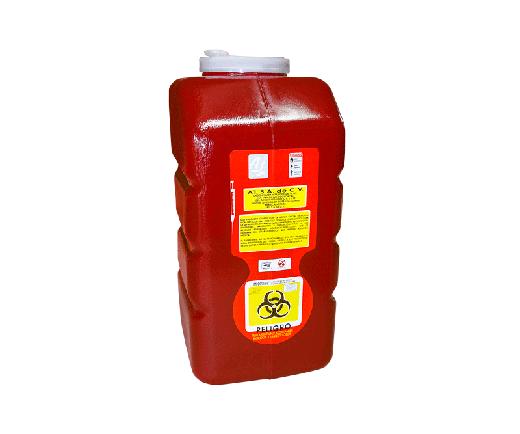 """DESCRIPCIÓNEl PC-12 es un Recolector rígido de polipropileno, con un contenido de metales pesados de no mas de 1 PXM, libre de cloro, desechable, para residuos punzocortantes.Con tapas de seguridad para las Aberturas.Esterilizable, incinerable y no contaminante.Resistente a fracturas y pérdida de contenido al caerse, destructible por medios físicos, Resistencia mínima de penetración en punzocortantes es de 12.5 N en todas sus partes.Con separador de agujas y abertura para el depósito de otros punzocortantes. Etiquetado con la leyenda """"RESIDUOS PELIGROSOS PUNZOCORTANTES, BIOLÓGICOS"""" y marcado con el símbolo universal de """"Riesgo Biológico"""".De acuerdo a la NOM-087-ECOL-SSA1-2002.FUNCIONALIDADEl PC-12 es utilizado para la recolección y desecho de punzocortantes garantizando la disposición final de riesgo biológico.Los recipientes para los residuos peligrosos punzocortantes se llenarán hasta el 80% (ochenta por ciento) de su capacidad, asegurándose los dispositivos de cierre y no deberán ser abiertos o vaciados.CARACTERÍSTICASCOLOR: Rojo.CAPACIDAD: 12.0 Lts.MEDIDAS:Largo: 18.5 cm.Ancho: 19.5 cm.Alto: 40.5 cm.MARCA: A1"""