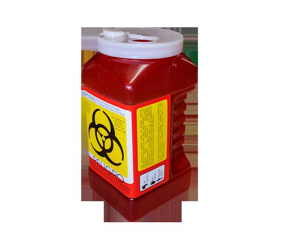 """DESCRIPCIÓNEl PC-3 es un Recolector rígido de polipropileno, con un contenido de metales pesados de no mas de 1 PXM, libre de cloro, desechable para residuos punzocortantes.Con tapas de seguridad para las Aberturas.Esterilizable, incinerable y no contaminante.Resistente a fracturas y pérdida de contenido al caerse, destructible por medios físicos.Resistencia mínima de penetración en punzocortantes es de 12.5 N en todas sus partes.Con separador de agujas y abertura para el depósito de otros punzocortantes.Etiquetado con la leyenda """"RESIDUOS PELIGROSOS PUNZOCORTANTES, BIOLÓGICOS"""" y marcado con el símbolo universal de """"Riesgo Biológico"""".De acuerdo a la NOM-087-ECOL-SSA1-2002.FUNCIONALIDADEl PC-3 es utilizado para la recolección y desecho de punzocortantes garantizando la disposición final de riesgo biológico.Los recipientes para los residuos peligrosos punzocortantes se llenarán hasta el 80% (ochenta por ciento) de su capacidad, asegurándose los dispositivos de cierre y no deberán ser abiertos o vaciados.CARACTERÍSTICASCOLOR: Rojo.CAPACIDAD: 3.0 LtsMEDIDAS:Largo: 11.5 cm.Ancho: 12.8 cm.Alto: 24.2 cmMARCA: A1"""