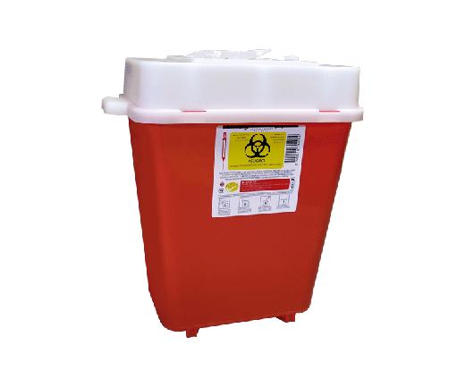 """El PC-8 es un Recolector rígido de polipropileno, con un contenido de metales pesados de no mas de 1 PXM, libre de cloro, desechable para residuos punzocortantes.Con tapas de seguridad para las Aberturas.Esterilizable, incinerable y no contaminante.Resistente a fracturas y pérdida de contenido al caerse, destructible por medios físicos.Resistencia mínima de penetración en punzocortantes es de 12.5 N en todas sus partes.Con separador de agujas y abertura para el depósito de otros punzocortantes.Etiquetado con la leyenda """"RESIDUOS PELIGROSOS PUNZOCORTANTES, BIOLÓGICOS"""" y marcado con el símbolo universal de """"Riesgo Biológico"""".De acuerdo a la NOM-087-ECOL-SSA1-2002.FUNCIONALIDADEl PC-8 es utilizado para la recolección y desecho de punzocortantes garantizando la disposición final de riesgo biológico.Los recipientes para los residuos peligrosos punzocortantes se llenarán hasta el 80% (ochenta por ciento) de su capacidad, asegurándose los dispositivos de cierre y no deberán ser abiertos o vaciados.CARACTERÍSTICASCOLOR: Rojo.CAPACIDAD: 7.5 a 9.4 Lts.MEDIDAS:Largo: 30.5 cm.Ancho: 18.0 cm.Alto: 31.5 cm.MARCA: Ciudalimp"""