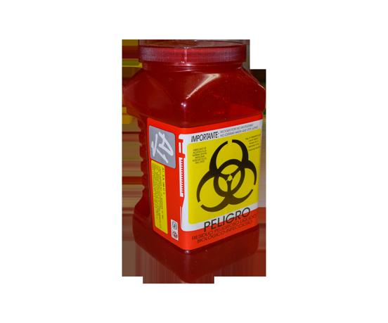 """DESCRIPCIÓNEl PL-3 es un Recolector de residuos peligrosos liquidos,rigido de polipropileno, con un contenido de metales pesados de no mas de 1 PXM, libre de cloro, desechable para residuos punzocortantes.Esterilizable, incinerable y no contaminante.Resistente a fracturas y pérdida de contenido al caerse, destructible por medios fisicos,Resistencia mínima de penetración para los recipientes de liquidos 12.5 N en todas sus partes.Tapa de ensamble seguro y cierre hermetico.Etiquetado con la leyenda """"RESIDUOS PELIGROSOS LIQUIDOS, BIOLÓGICO-INFECCIOSOS"""" y marcado con el símbolo universal de """"Riesgo Biológico"""".De acuerdo a la NOM-087-ECOL-SSA1-2002.FUNCIONALIDADEl PL-3 es utilizado para la recolección y desecho de punzocortantes garantizando la disposición final de riesgo biológico.Los recipientes para los residuos peligrosos punzocortantes se llenarán hasta el 80% (ochenta por ciento) de su capacidad, asegurándose los dispositivos de cierre y no deberán ser abiertos o vaciados.CARACTERÍSTICASCOLOR: RojoCAPACIDAD: 3.00 Lts.MEDIDAS:Largo: 11.5 cm.Ancho: 12.8 cm.Alto: 24.2 cm.MARCA: A1"""