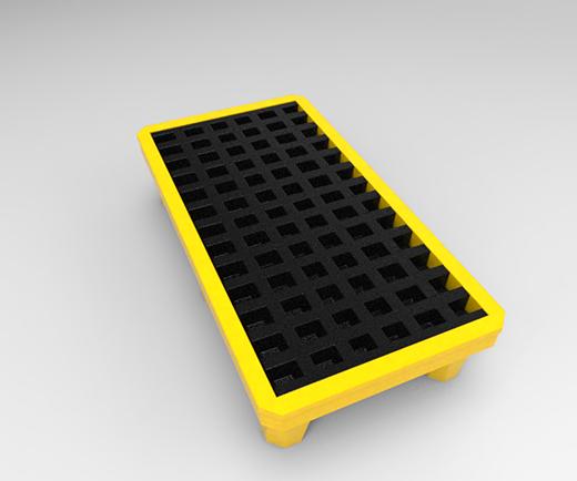 DESCRIPCIÓNPlataforma TAR2-200 construida de polietileno de media densidad, lo cual le da la propiedad de absorber fuertes impactos y no deformarse, fabricada mediante el proceso de rotomoldeo.Con protección a los rayos UV.Resistente a las condiciones del clima.Conformada de dos piezas, base y rejillas.Plataforma antiderrame, la placa superior esta acanalada esto para la recolección de líquidos.Placa superior acanalada para la recolección de líquidos.Relieve inferior para movimiento y traslado con montacargas.Apilable.Tapón de descarga.FUNCIONALIDADLa TAR2-200 se utiliza principalmente en las industrias, lugares de acopio, almacenes.Ideal para la estiba de 4 tambos de 200 lts. o piezas que escurran líquidos aceitosos.De gran uso en la industria química, alimenticia, siderúrgica y automotriz.Se ocupan para tener bien organizados los tambos y haya un mejor movimiento y traslado.Diseñadas especialmente para contener derrames en depósitos y playas de carga y descarga.CARACTERÍSTICASCAPACIDAD: 2 botes de 200 Lts.CAPACIDAD DE RECOLECCIÓN: 70 % de líquidos.COLOR:Base: Amarilla.Rejilla: Negra.MEDIDAS:Largo: 134.0 cm.Ancho: 74.0 cm.